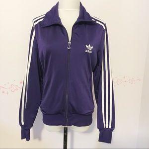 adidas purple 3 stripe trefoil track jacket